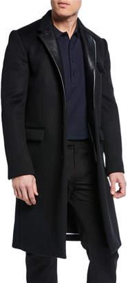 Bottega Veneta Men's Single-Breasted Overcoat with Leather Lapels
