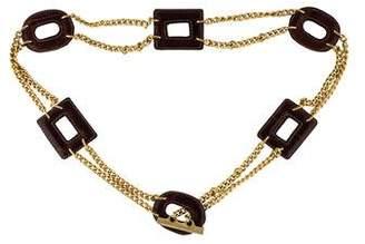 Prada Chain-Link Leather-Trimmed Belt