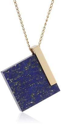 MARION VIDAL Women's Chic Square Lapis Lazuil Vermeil Chain Necklace of Length 44cm