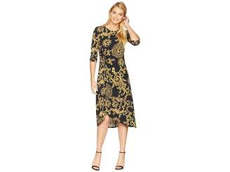 Donna Morgan Printed Jersey Dress with Asymmetrical Hem