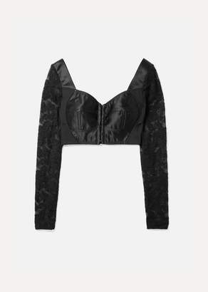 Dolce & Gabbana Cropped Satin, Stretch-knit And Lace Bustier Top - Black
