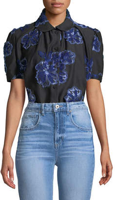 Co Button-Down Floral-Embroidered Poplin Shirt