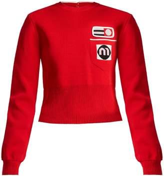 Miu Miu Patch-appliqué cropped-length sweater