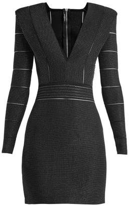 Balmain - Deep V Neck Knitted Mini Dress - Womens - Black