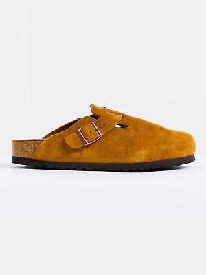 Birkenstock New Unisex Boston Sfb Narrow Width Sandals In Mink Suede Womens