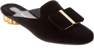 Salvatore Ferragamo Sciacca Flower Heel Velvet Mule