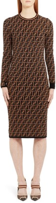 Fendi Long Sleeve Logo Jacquard Wool, Silk & Cashmere Sweater Dress