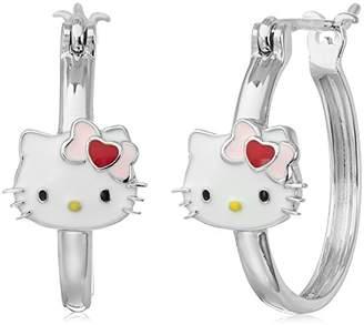 Hello Kitty Sterling Heart Bow Swarovski Crystal Studs with Heart Charm Hoop Earrings