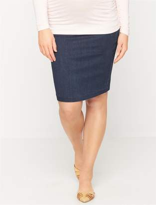 A Pea in the Pod Luxe Essentials Denim Secret Fit Belly Pencil Fit Maternity Skirt