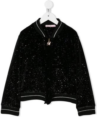 Miss Blumarine glittered bomber jacket