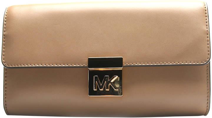 Michael Kors Dark Khaki Mindy Leather Clutch - DARK - STYLE