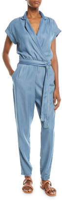 Etienne Marcel Short-Sleeve Wrap-Front Skinny Chambray Jumpsuit