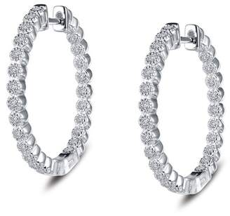 Lafonn Platinum Plated Sterling Silver CZ Accented 38mm Hoop Earrings