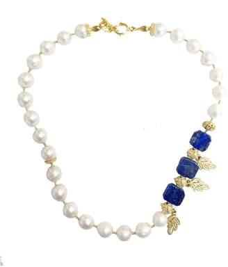 Lapis Farra - Freshwater Pearls & Lazuli Necklace
