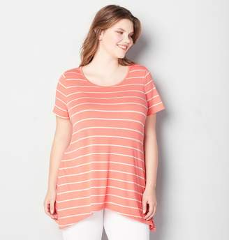 Avenue Plus Size Stripe Sharkbite Active Top