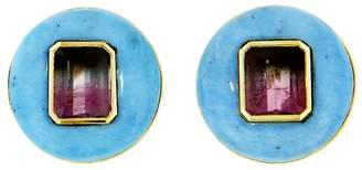 Retrouvaí Turquoise and Bi-Color Tourmaline Lollipop Stud Earrings