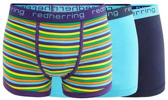 Red Herring 3 Pack Assorted Plain And Striped Hipster Trunks