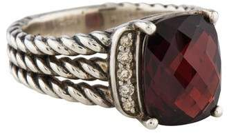David Yurman Garnet & Diamond Petite Wheaton Ring