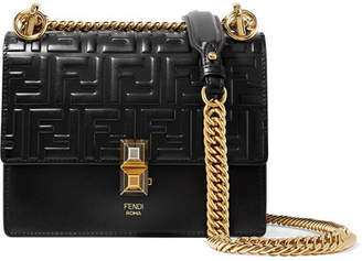 Fendi Kan I Small Embossed Leather Shoulder Bag - Black