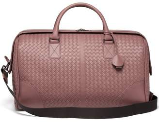 Bottega Veneta Intrecciato Leather Holdall - Womens - Dark Pink