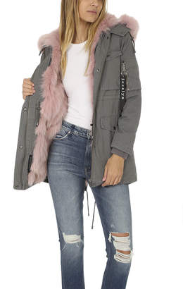 Jocelyn Washed Cargo Coat with Fur Trim