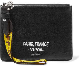 Printed Textured-leather Pouch - Black