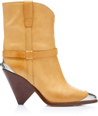 Isabel Marant Lamsy Leather Cap-Toe Ankle Boots