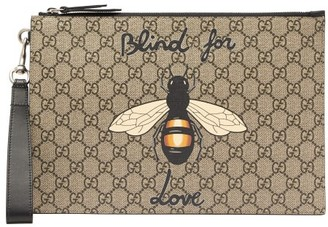 Gucci Bee Print Gg Supreme Canvas Pouch - Mens - Brown Multi