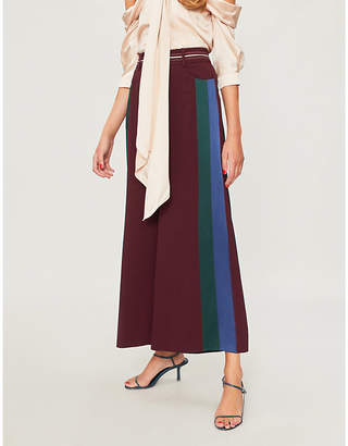 Peter Pilotto Side-stripe wide-leg cropped crepe trousers