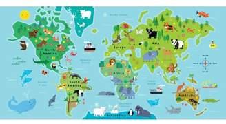 Zoomie Kids Edwina World Map Animal Pals Framed Canvas Art