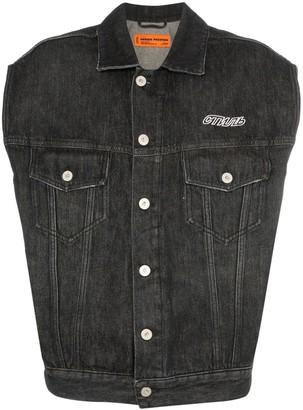 Heron Preston CTNMB-print sleeveless denim jacket