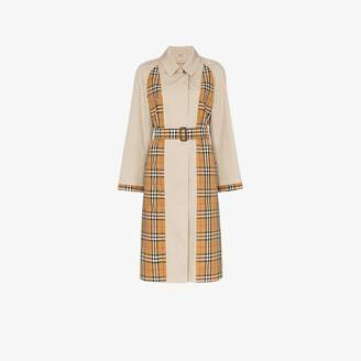 Burberry Guisley check print panelled cotton trench coat