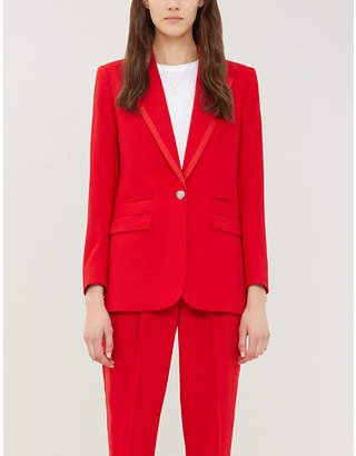 The Kooples Contrast-trim cotton-blend blazer