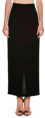 Giorgio Armani Long Straight Crepe Skirt w/ Back Vent
