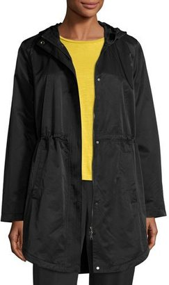 Eileen Fisher Cotton/Nylon Hooded Jacket, Black $358 thestylecure.com