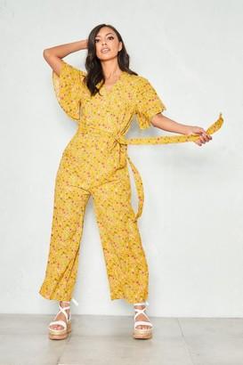 4cafeb122cff Missy Empire Missyempire Cassie Mustard Floral Wrap Front Short Sleeve  Jumpsuit