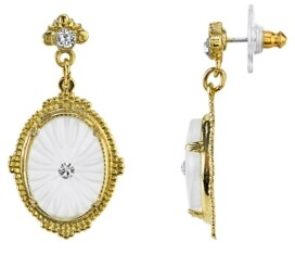 Downton Abbey Gold-Tone Frosted Lalique-Inspired Oval Drop Earrings