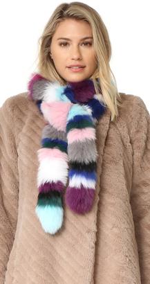 Charlotte Simone Rainbow Twist Fur Scarf $245 thestylecure.com
