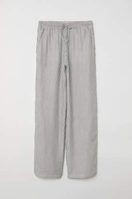 H&M Wide-cut Pull-on Pants - White