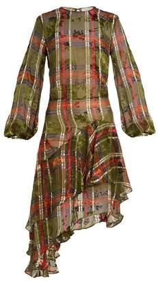 Preen by Thornton Bregazzi Natalie Checked Silk Blend Devore Dress - Womens - Khaki Multi