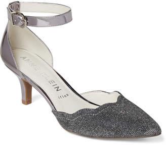 Anne Klein Silver Ankle Strap Kitten Heel Pumps