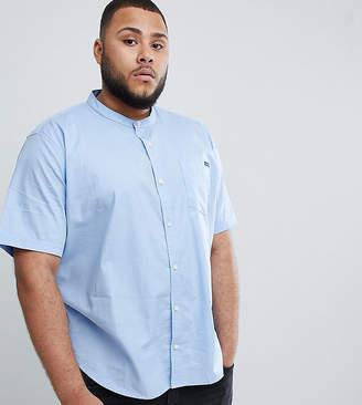BadRhino Big Short Sleeve Poplin Shirt With Grandad Collar In Blue