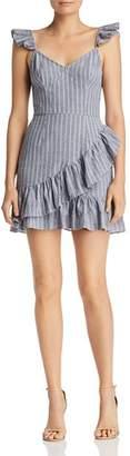 The Fifth Label Pixel Ruffled Striped Mini Dress