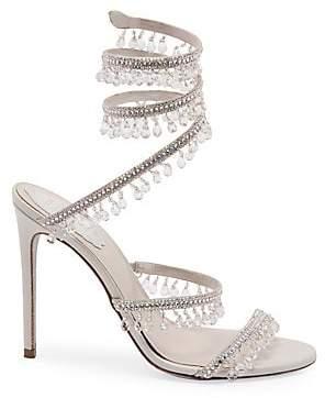 Rene Caovilla Women's Crystal Fringe Ankle-Wrap Stiletto Sandals