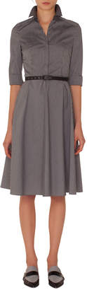 Akris Punto Elbow-Sleeve Detachable-Collar Press-Button Striped Shirtdress