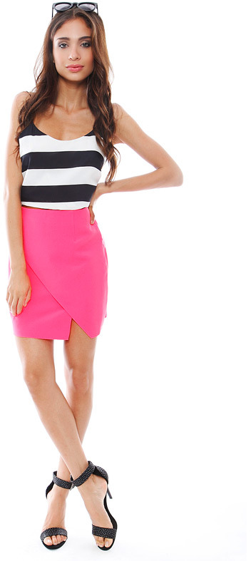 Keepsake Love Sick Mini Skirt in Fluro Pink