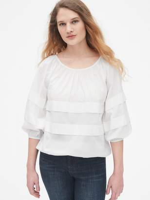 Gap Tiered Pleated Blouson Sleeve Top