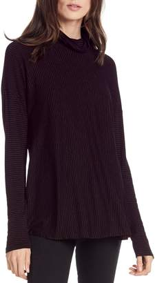 Michael Stars Metallic Stripe Turtleneck Top