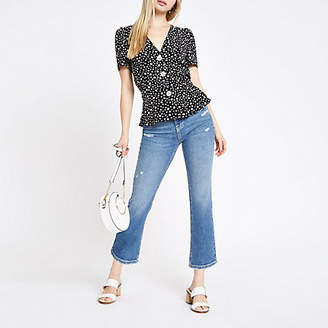 River Island Womens Black daisy print button front tea top