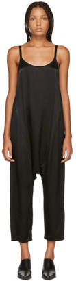 Raquel Allegra Black Satin Dropped Inseam Jumpsuit